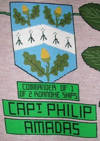 tapestry photo 1584 captain philip amadas shield